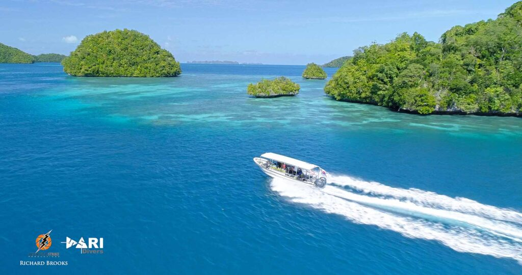 Aerial shot of a speed boat in Palau