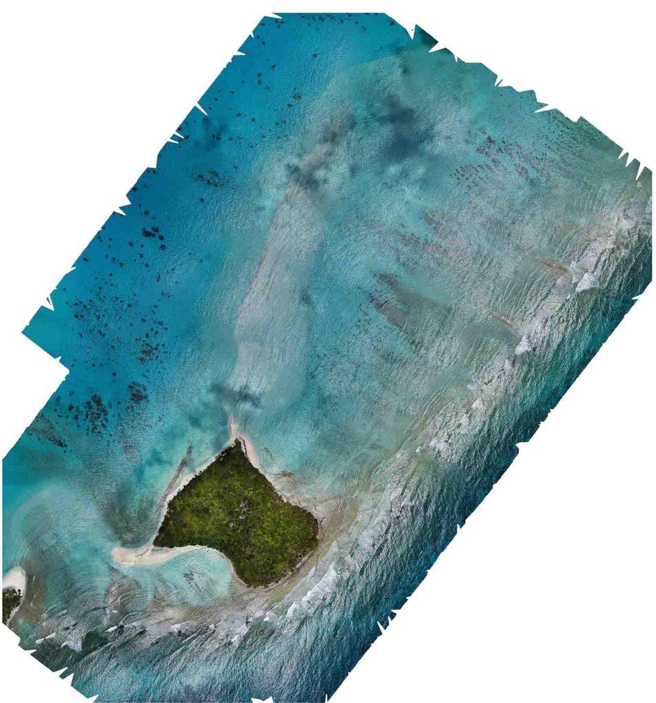 Aerial mosaic map kayangel island palau