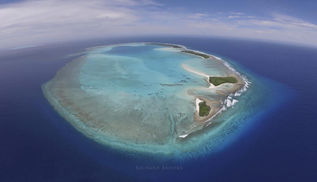 Kayangel tropical atoll aerial panorama
