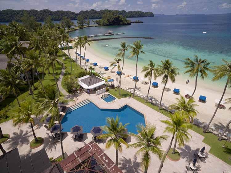 Palau resort aerial drone photo beach swimming pool  palm trees